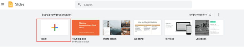 Click + icon to create a new presentation