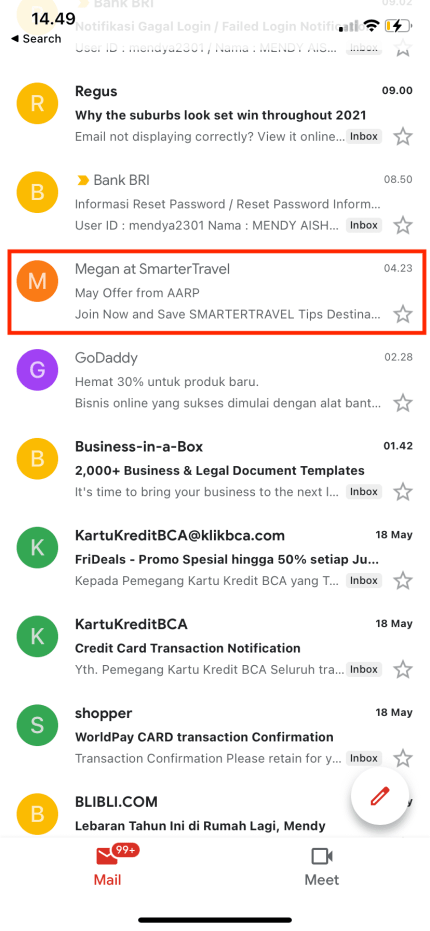 Tap email message you want to move and click to open