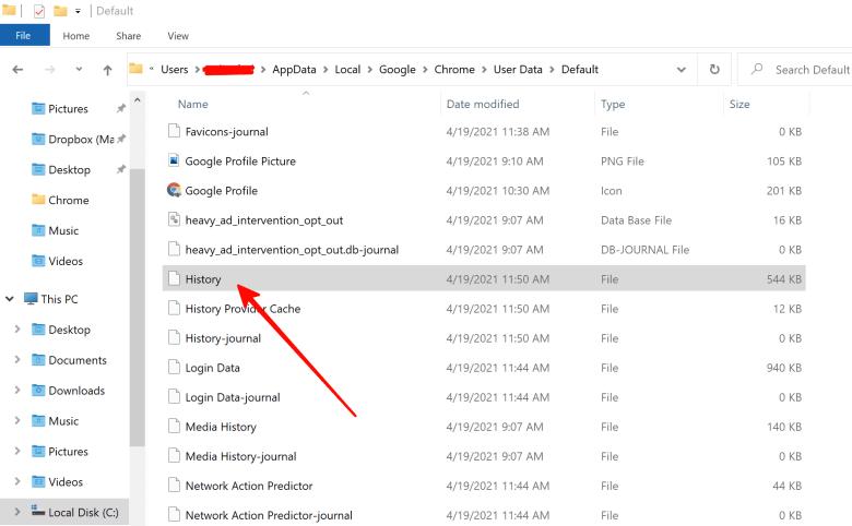 Select History file