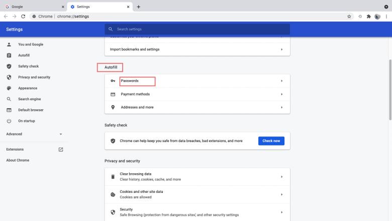 Under Autofill menu, click Passwords