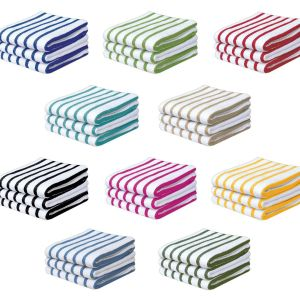 100% Cotton Stripe Kitchen Towel - Pack of 3 - quick-cleaning-supplies
