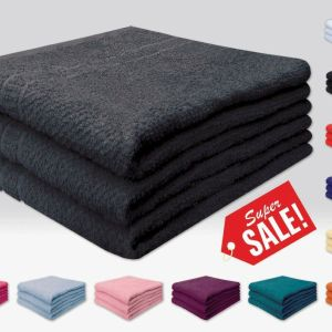 Deluxe 3 Piece 100% Cotton Honeycomb Weave Bath Towels 71cm X 140cm - quick-cleaning-supplies