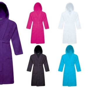 Unisex 100% Cotton Terry Toweling Hooded Bath Robe Dressing Gown Soft & Cozy - quick-cleaning-supplies