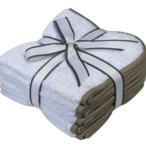 100% Cotton Hotel Collection Face Cloths / Flannels - White - Pack of 6 - quick-cleaning-supplies
