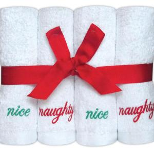 100% Cotton Face Cloth Gift Set 'Naughty / Nice' - Set of 8 - quick-cleaning-supplies