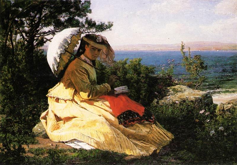 """Peinture de Jules Breton """"La femme à l'ombrelle"""" datant de 1971"""