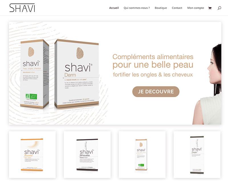 Capture d'écran du site Internet du Laboratoire Shavi qui vend en ligne des compléments alimentaires fabriqués en France