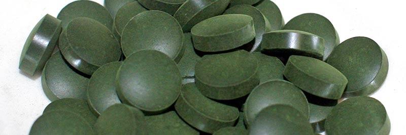Cachet d'algue verte séchée et compressée
