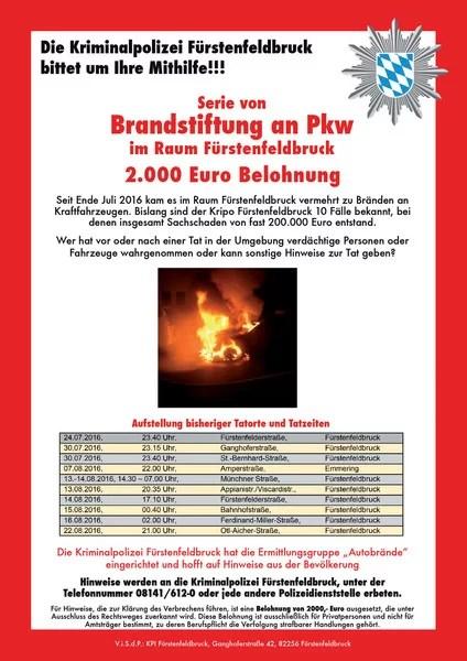 Fahndung Plakat Brandstiftung Fürstenfeldbruck