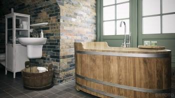 Mooi houten bad in de badkamer (DHfoto)