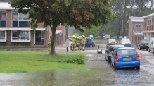 Wateroverlast in Den Helder: Commandeursplein (foto: Cees Rondel)