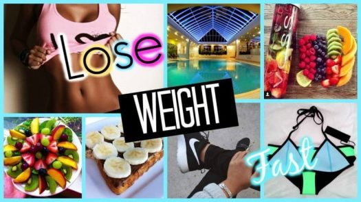 words weight in bold and a background with pictures of foods, fruits and a slim woman