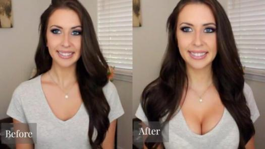 two pics of a lady showing before and after