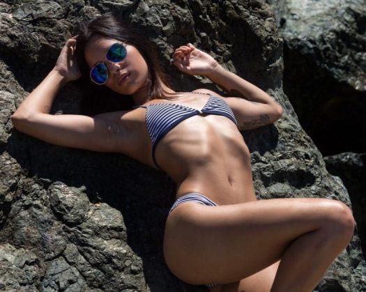 a lady with a bikini