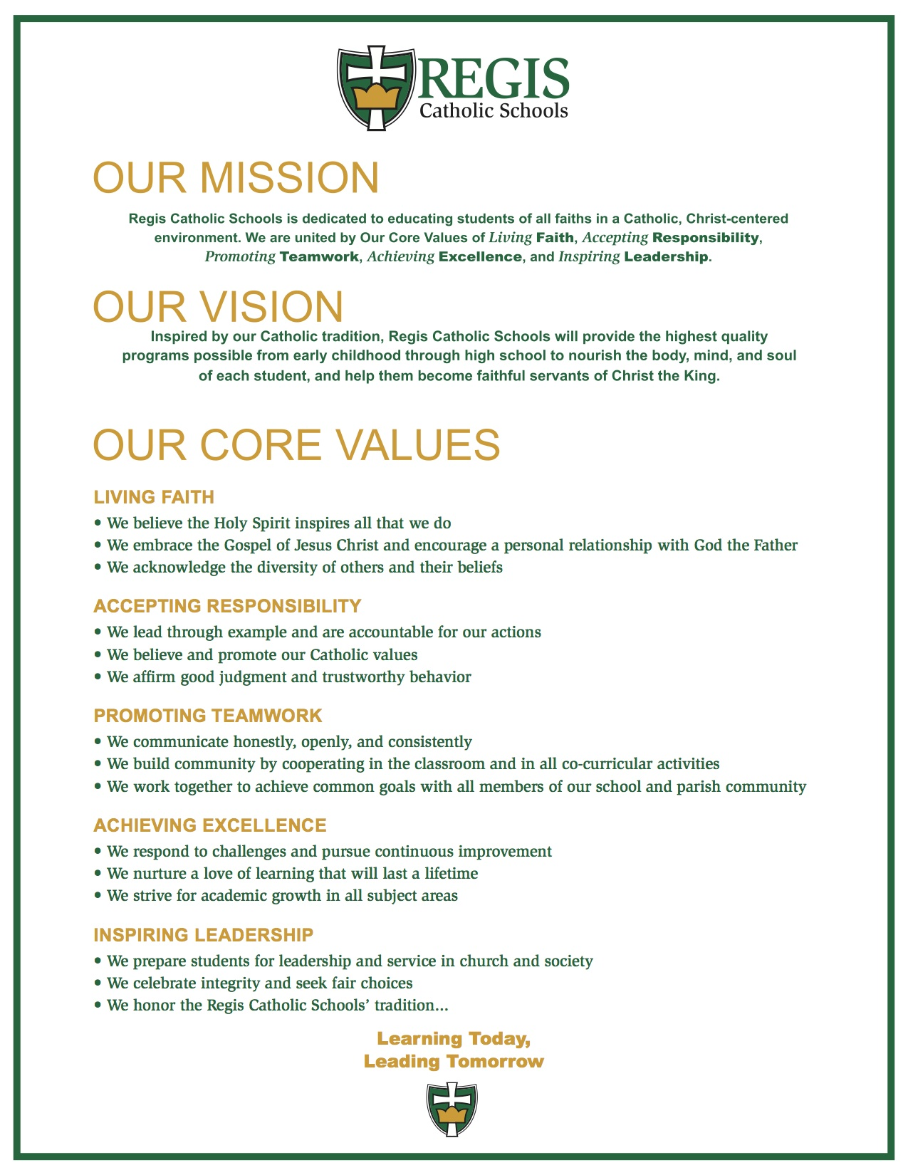 Personal Vision Statement Examples For High School