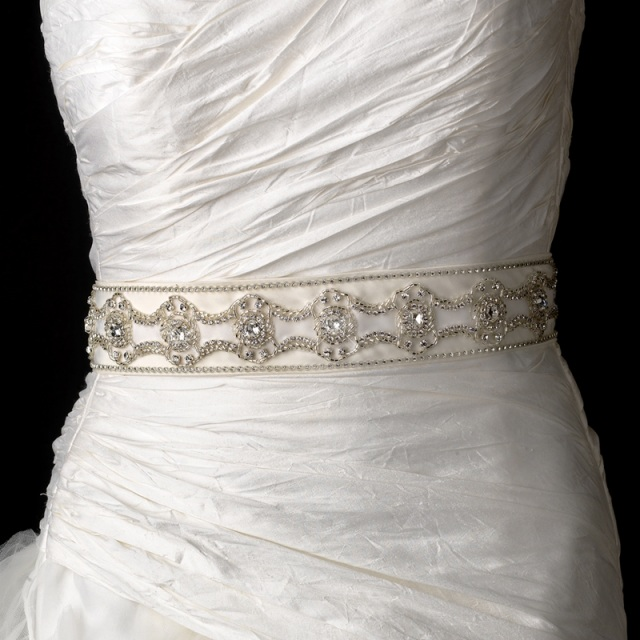 Rhinestone Amp Beaded Wedding Sash Bridal Belt 7 White Or