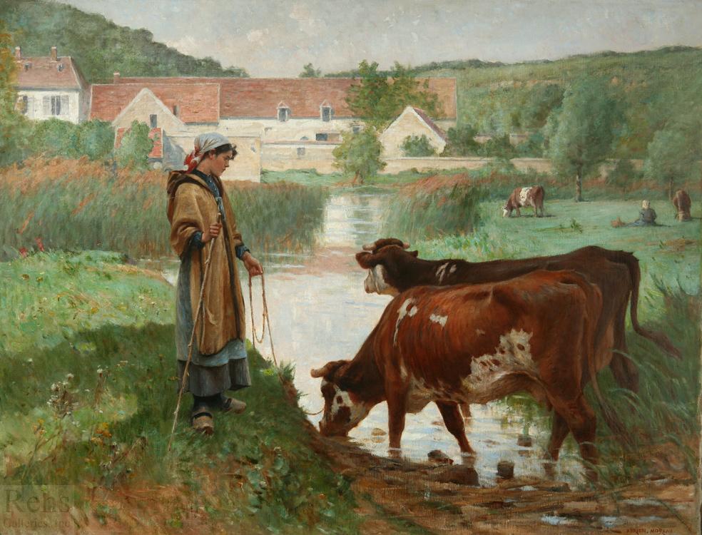 Paysanne aux vaches a la mare by Adrien Moreau - 35 1/4 x 46 inches Signed french academic paris salon figures figurative genre peasants