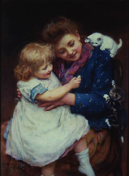 Playtime by Arthur J. Elsley - 30 x 22 inches Signed and dtaed 1893