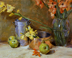 Gladiolas and Copper by Gregory Frank Harris - 14 x 18 inches Signed and dated '01 american contemporary still life flowers florals