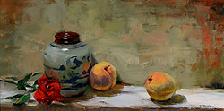 The Chinese Jar by Gregory Frank Harris - 10 x 20 inches Signed american contemporary still life flowers florals