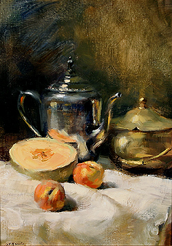 Still Life with Cantaloupe & Peaches by Gregory Frank Harris - 16 x 12 inches Signed; also signed, titled and dated on the reverse american contemporary still life fruit