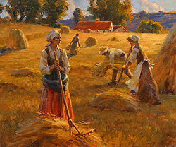 The Golden Years by Gregory Frank Harris - 20 x 24 inches Signed greg harris contemporary landscape plein air plain air figurative figures peasants harvesters harvesting