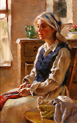 A Moments Reverie by Gregory Frank Harris - 12 x 9 inches Signed contemporary american plein air plain air figurative figures
