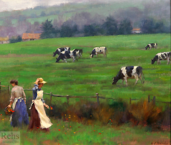 Wildflowers by the Pasture by Gregory Frank Harris - 10 x 12 inches Signed; also signed, titled and dated on the reverse contemporary american plein air plain air figurative figures cows