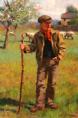 Young Shepherd by Gregory Frank Harris - 18 x 12 inches Signed; also signed and titled on the reverse contemporary american plein air plain air figurative figures male boys
