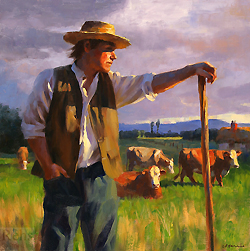 The Herdsman by Gregory Frank Harris - 20 x 20 inches Signed; also signed, titled and dated on the reverse contemporary american plein air plain air figurative figures men male