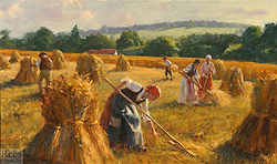 A Golden Harvest by Gregory Frank Harris - 12 x 20 inches Signed; also signed and titled on the reverse contemporary american realist impressionist farm workers genre figurative haymaking haying