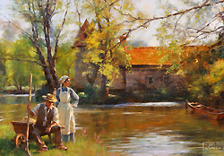 Along the Peaceful River by Gregory Frank Harris - 14 x 20 inches Signed; also signed and titled on the reverse rustic genre figures peasants