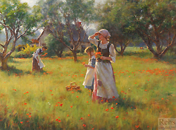Wild Poppies by Gregory Frank Harris - 22 x 30 inches Signed; also signed and titled on the reverse figures genre landscape field of flowers