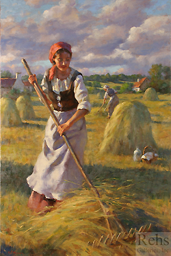 In the Light of Summer by Gregory Frank Harris - 36 x 24 inches Signed; also signed, titled and dated on the reverse contemporary american figurative genre realist impressionist