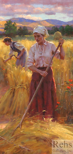 Into the Evening Light by Gregory Frank Harris - 24 x 12 inches Signed; also signed, titled and dated on the reverse contemporary realist genre farmyard figurative haymaking haying