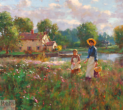 April Wildflowers by Gregory Frank Harris - 20 x 22 inches Signed; also signed and titled on the reverse american contemporary genre figureative landscape flowers