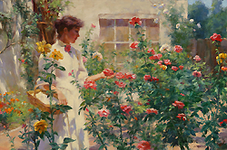 Among the Roses by Gregory Frank Harris - 12 x 18 inches Signed; also signed and titled on the reverse american contemporary sunlit garden genre flowers