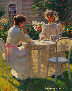 Late Afternoon Tea by Gregory Frank Harris - 20 x 16 inches Signed; also signed and titled on the reverse contemporary american genre figures figurative
