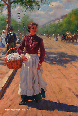 Clearing Skies (The Parisian Laundress) by Gregory Frank Harris - 24 x 16 inches Signed; also signed and titled on the reverse american contemporary paris street scene genre figurative figures