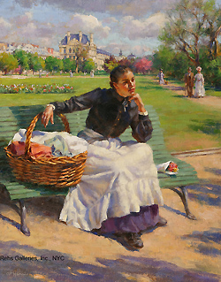 Daydreams (Laundress in the Tuileries, Paris) by Gregory Frank Harris - 14 x 11 inches Signed; also signed and titled on the reverse american contemporary peasant genre figurative figures garden