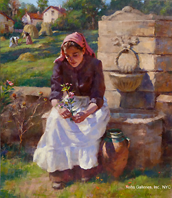 A la Fontaine by Gregory Frank Harris - 16 x 14 inches Signed; also signed and titled on the reverse american contemporary peasant genre figurative figures