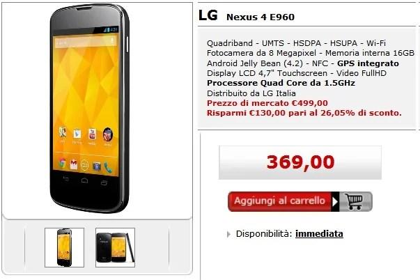 LG Nexus 4 Garanzia Italia scende a 369€ su Media World