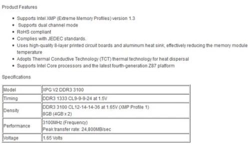 ADATA XPG V2: nuove DDR3 da 3,1GHz!