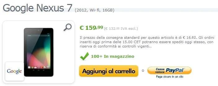 Google Neuxs 7 2012 Wi-FI 16gb a soli 159€ su Expansys