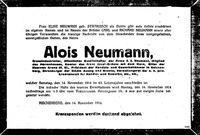 Todesanzeige Alois Neumann 1914
