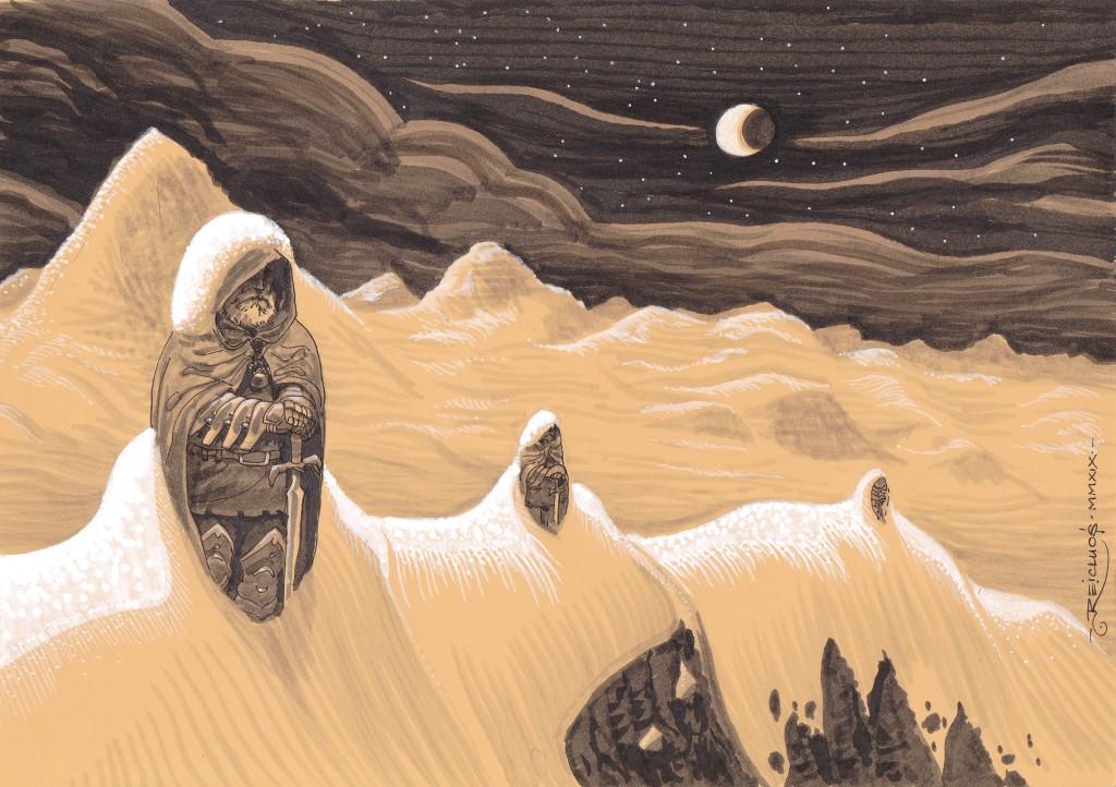 La lune et les étoiles brillent sur les montagnes enneigées. A intervalles réguliers, des sentinelles se tiennent debout, à moitié recouvertes par la neige. Humains ou statues ?...