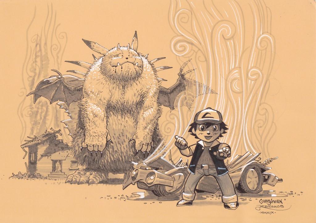 Un célèbre dresseur de Pokémon se tient, l'air enjoué, au premier plan. Derrière lui, un Pikachu gigantesque, à peine reconnaissable, se tient au milieu des ruines fumantes.