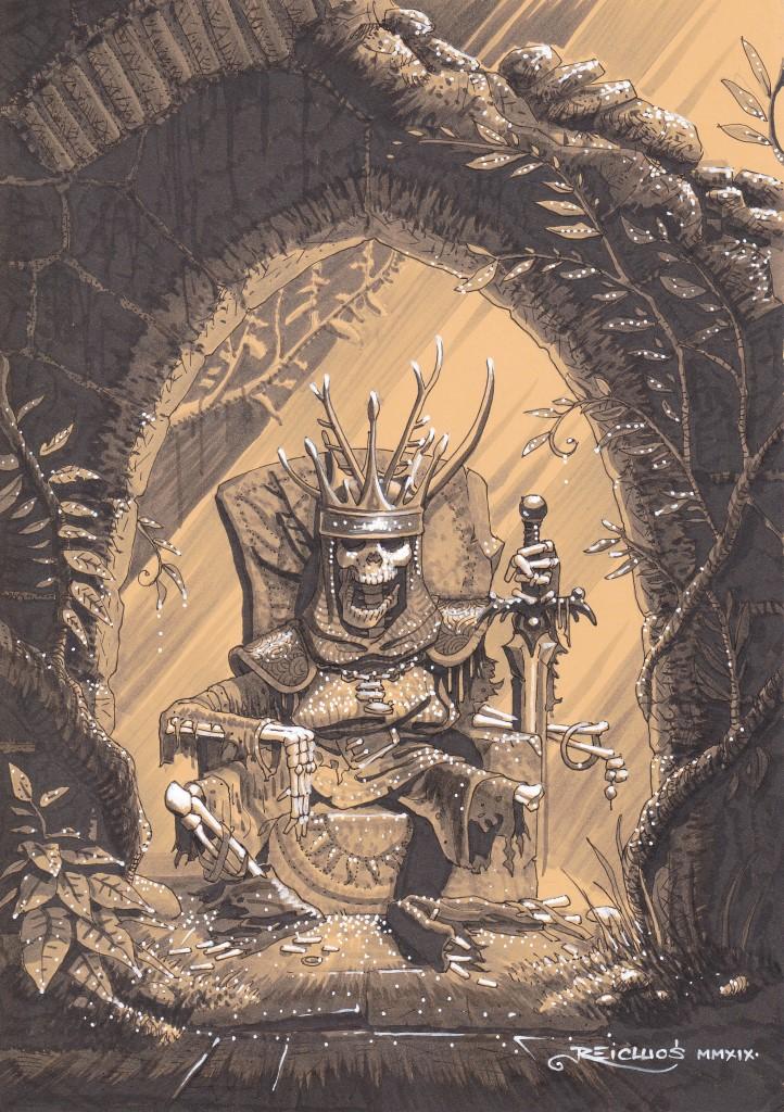Au milieu des ruines envahies par la végétation, le squelette d'un roi continue de siéger dans un rayon de lumière. Son crâne porte encore la couronne, quelques phalanges s'accrochent encore au pommeau de son épée.