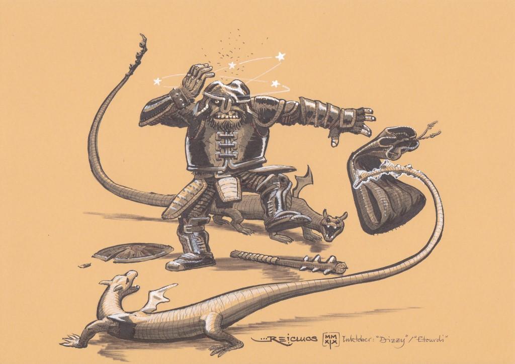 Un guerrier au casque cabossé titube, à moitié assommé. son bouclier fendu est à terre, sa massue grossière également. Il laisse échapper le sac en toile avec lequel il comptait capturer les deux jeunes dragons qui lui tournent autour, faisant ondoyer leur queue se terminant par une massue.