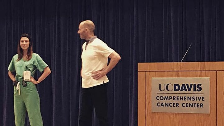 Reid Walley leading Public Speaking & Confidence Workshop with Resident at UC Davis Chapter Association of Women Surgeons. UC Davis Comprehensive Cancer Center, Sacramento, CA. Aug 2, 2018. Photo by Dr Amanda Kirane.